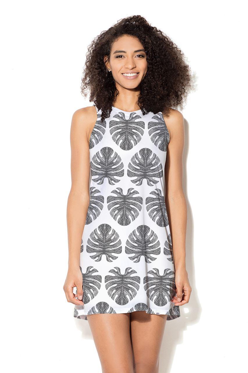 Biała sukienka w czarne duże liście palmy
